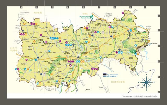 Carte pays de la haute mayenne alpes mancelles activit s - Office de tourisme des alpes mancelles ...