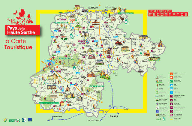 Carte pays de la haute de sarthe alpes mancelles - Office de tourisme des alpes mancelles ...