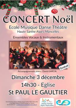 Alpes mancelles activités présente : Concert de Noël 2017 le 2017-12-03 14:30:00 - 2017-12-03 16:30:00