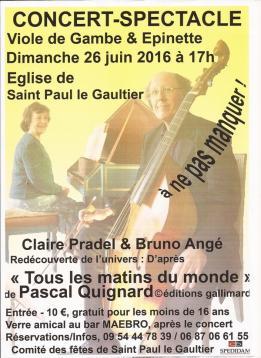 Concert musique classique viole de gambe et épinette - Saint-Paul-le-Gaultier