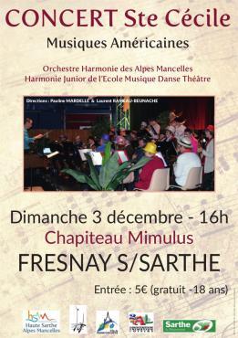 Alpes mancelles activités présente : CONCERT Sainte-Cécile 2017 le 2017-12-03 16:00:00 - 2017-12-03 18:00:00