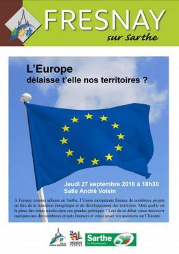Alpes mancelles activités présente : Débat - L'Europe délaisse t'elle nos territoires ? le 2018-09-27 18:30:00 - 2018-09-27 20:00:00