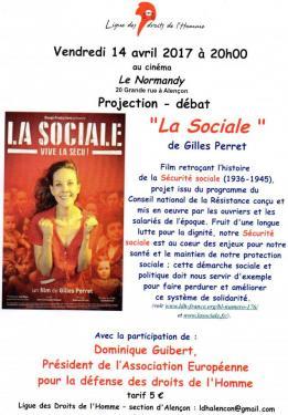 """Alpes mancelles activités présente La ligue des droits de l'Homme présente le film """"la Sociale"""" le 2017-04-14 18:00:00"""