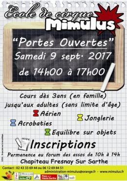 Alpes mancelles activités présente : Portes-ouvertes de l'école de cirque Mimulus le 2017-09-09 14:00:00 - 2017-09-09 17:00:00
