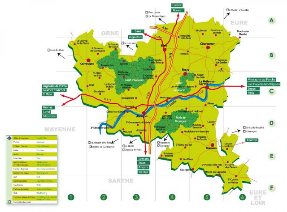 Carte pays d 39 alen on alpes mancelles activit s - Office de tourisme des alpes mancelles ...